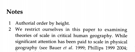 "screen cap of part of paper. It shows ""Notes"" and below that ""1. Authorial order by height"""