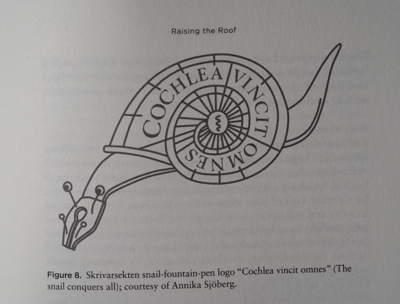 """Figure 8: Skrivarsekten snail-found-pen logo """"Cochlea vincit omnes"""" (The snail conquers all)"""