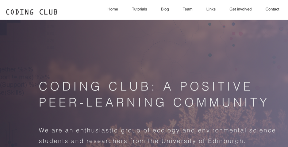 screen cap of the homepage for Coding Club; header says: Coding Club: A positive peer-learning community