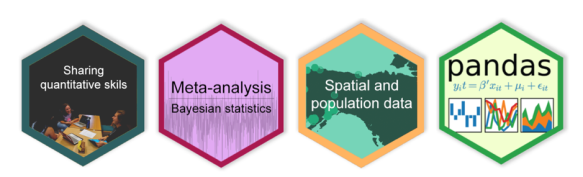 four badges, one for sharing quantitative skills, one for meta-analysis & bayesian statistics, one for spatial and population data, and one for pandas