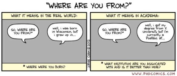 "PhD Comic comparing what ""Where are you from"" means in the ""real world"" vs. academia"