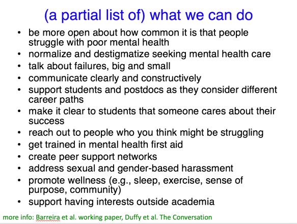 a list of suggestions, the second of which is to normalize and destigmatize seeking mental health care