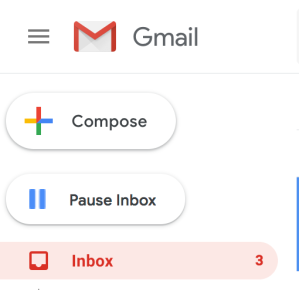 "Screen cap of a gmail inbox. Below the ""Compose"" button, there's a button with the two line ""Pause"" symbol. Next to that, it says ""Pause Inbox"""
